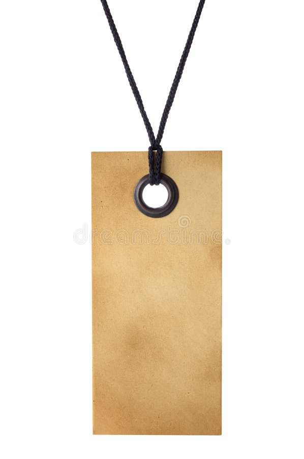 Tag. Aged tag isolated on white background royalty free stock photography