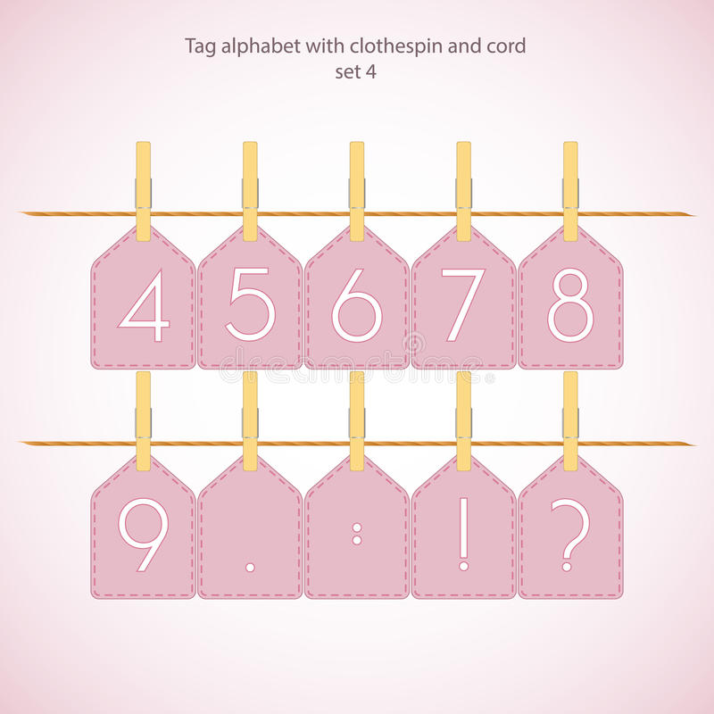Download Tag Alphabet With Clothespin And Cord Stock Vector - Image: 25015108