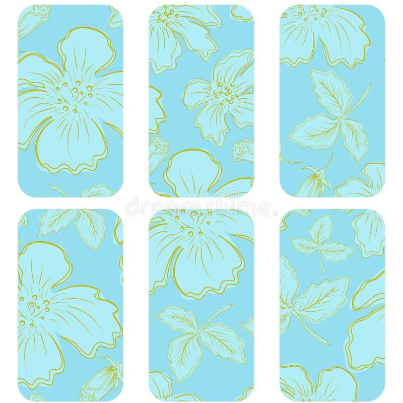 Tag azuis com flores ilustração do vetor