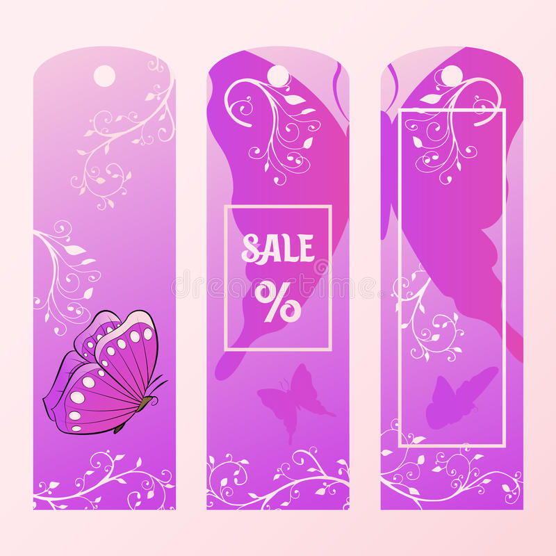 Tag for big sales with the pink butterfly. Label the price of goods pastel purple tones. royalty free illustration
