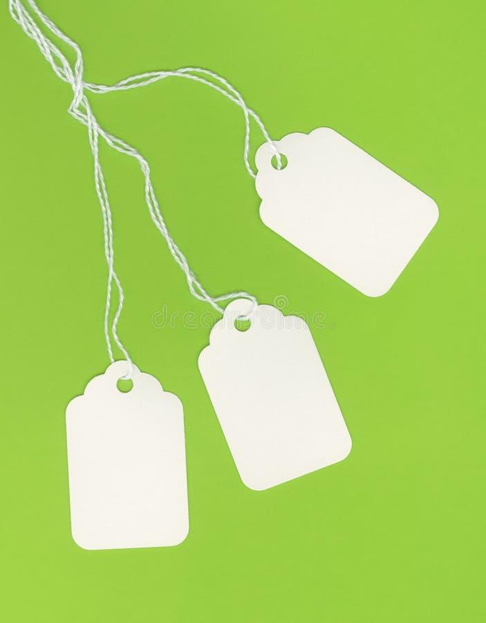 Tag brancos em branco no fundo verde fotos de stock royalty free