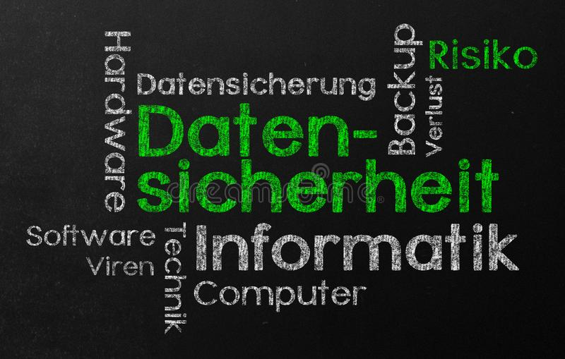 Tag cloud with data security in german vector illustration