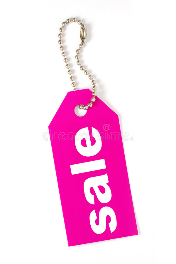 Tag cor-de-rosa da venda isolado foto de stock royalty free