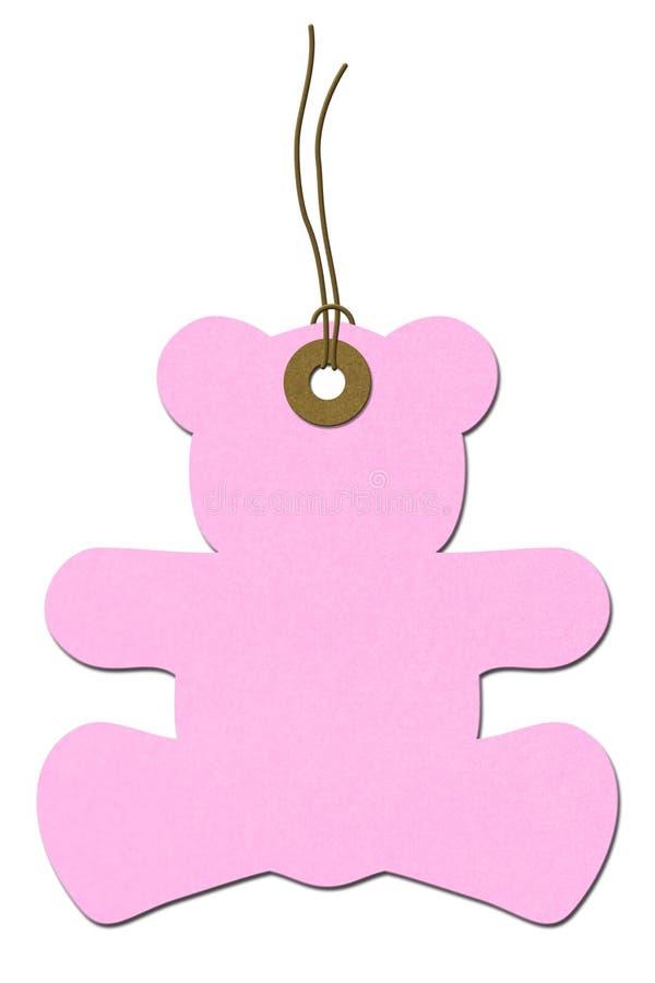 Tag cor-de-rosa do presente da festa do bebé do Peluche-urso imagem de stock royalty free