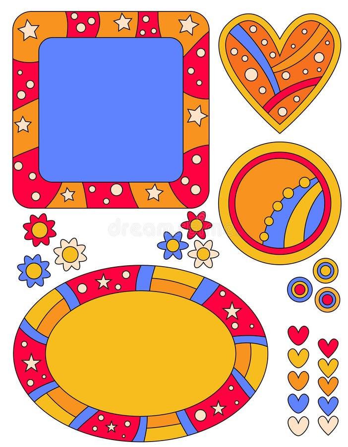 Tag, corações e flores coloridos ilustração do vetor