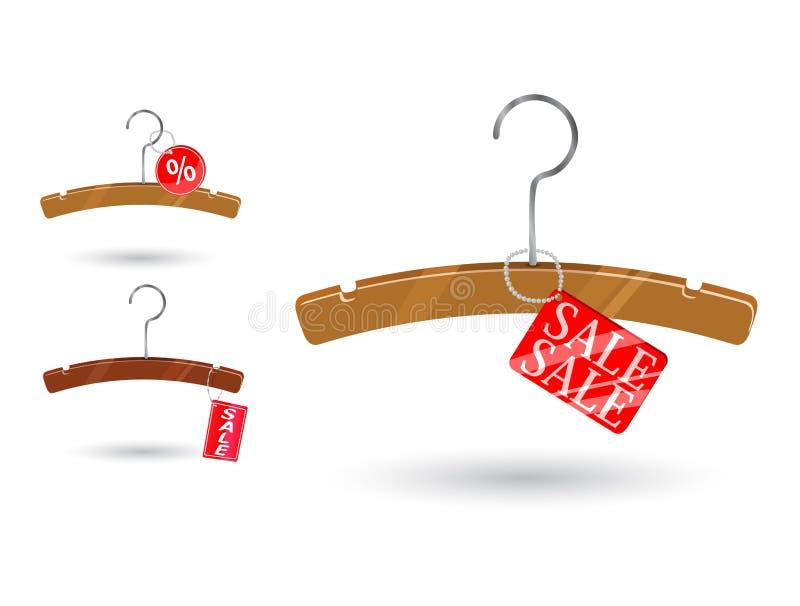 Tag da venda anexado ao gancho de roupa ilustração stock