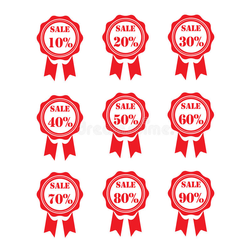 Tag da venda Bandeiras da venda Compras Fita sinal da venda de 10% - de 90% Vermelho imagens de stock