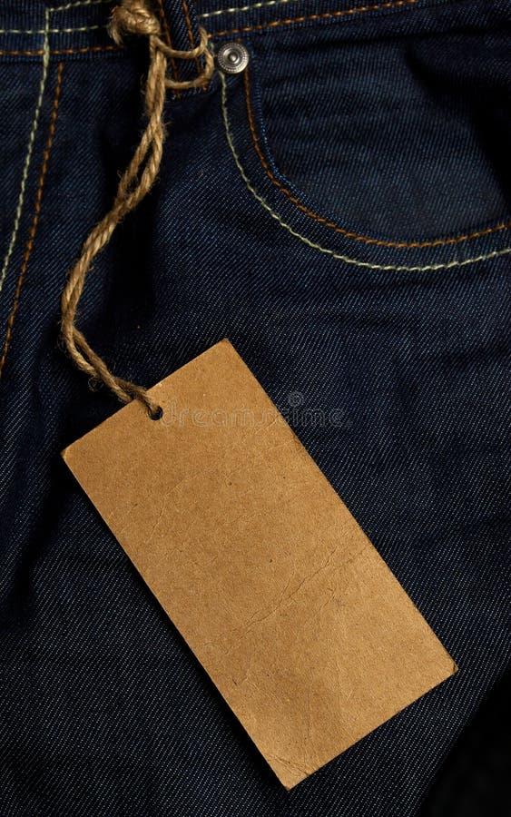 Tag das calças de brim foto de stock