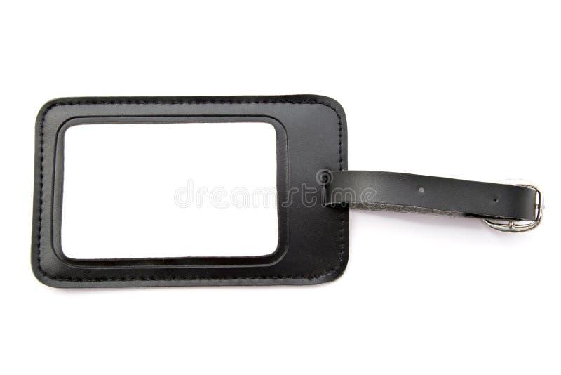 Tag de couro preto da bagagem imagem de stock