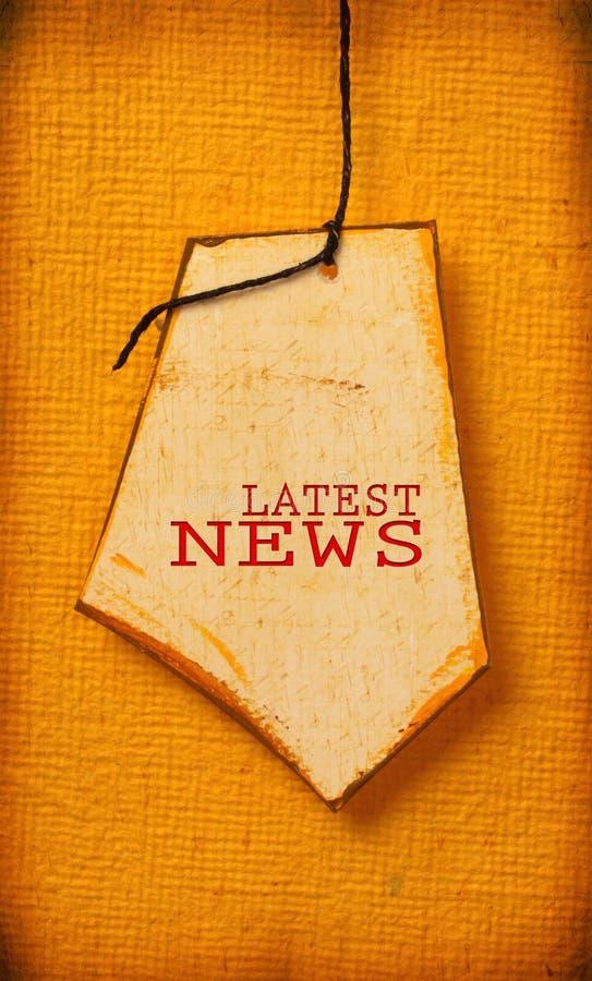 Tag de papel velho com palavra da notícia imagem de stock