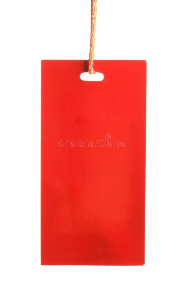 Tag de papel vermelho isolado fotografia de stock royalty free