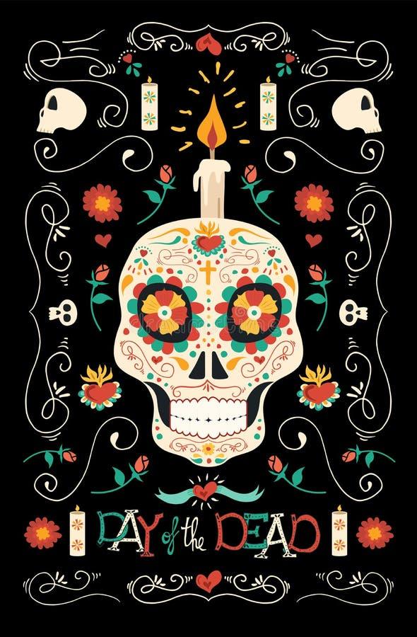 Tag der Erblast gezeichneten mexikanischen Zuckerschädelkunst lizenzfreie abbildung