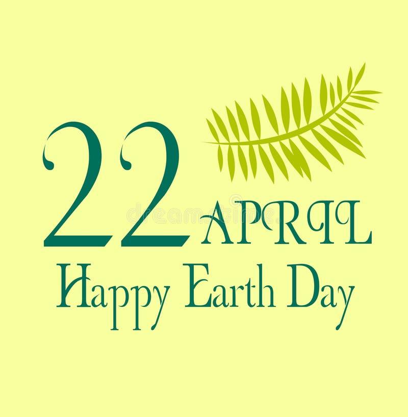 Tag der Erde-Abwehr die Planetenillustration am 22. April mit gelbem Hintergrund und Blättern lizenzfreies stockbild