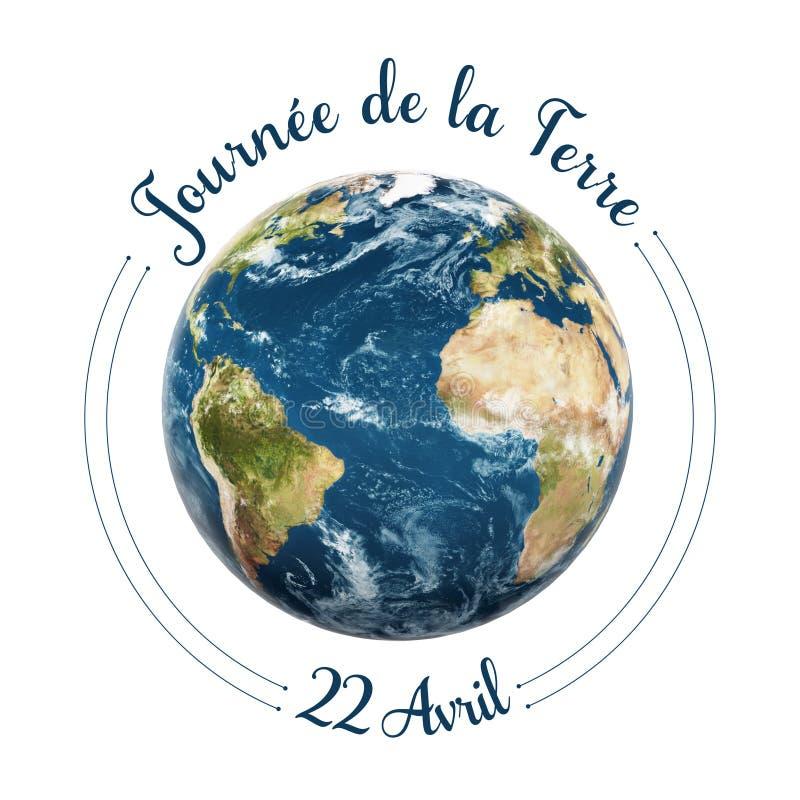 Tag der Erde in den französischen Wörtern stock abbildung