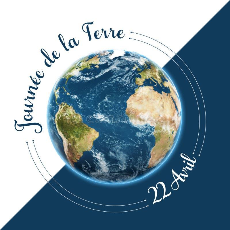 Tag der Erde in den französischen Wörtern lizenzfreie abbildung