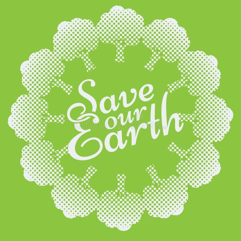 Tag der Erde Eco-Grün-Vektor-Design Kreis-organische Bäume lizenzfreie abbildung
