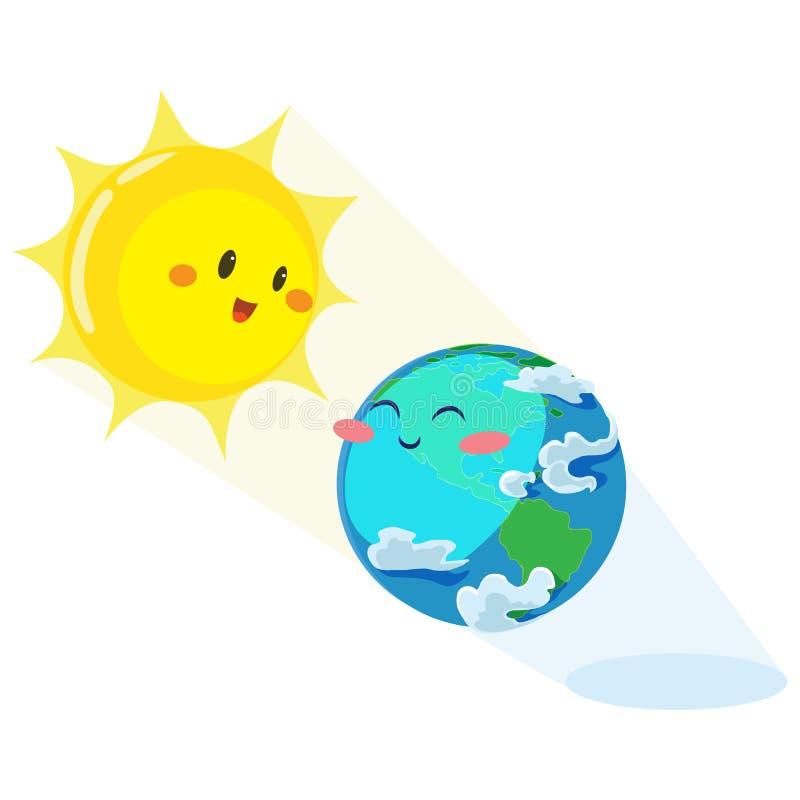 Tag der Erde, erhitzt glückliche Sonne Erde mit seinen gelben warmen Strahlen, Ökologiekonzept der Liebe die Welt-, Grüne und Bla lizenzfreie abbildung