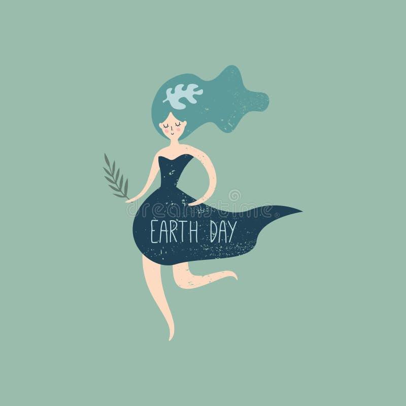 Tag der Erde-Fahne, Vektorillustration mit nettem laufendem Mädchen, Umweltsicherheit, Naturkonzept Plakat, Postkarte oder Elemen stock abbildung