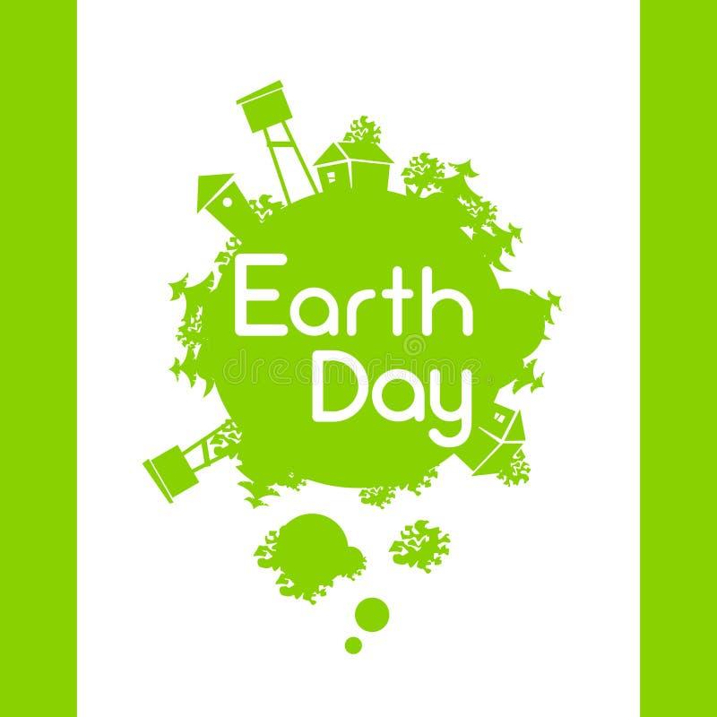 Tag der Erde-grüne Bäume wachsen Kugel-Schattenbild vektor abbildung