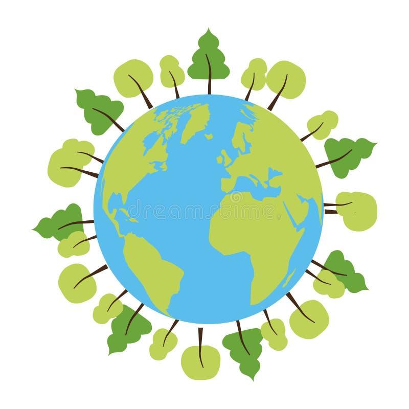 Tag der Erde-Karte lizenzfreie abbildung