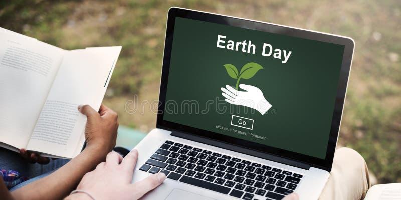 Tag der Erde-Klimaerhaltungs-Website-on-line-Konzept lizenzfreie stockbilder