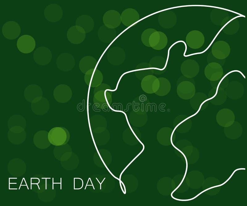 Tag der Erde-Konzept-Grünhintergrund, Weltkarte, Vektorillustration stock abbildung