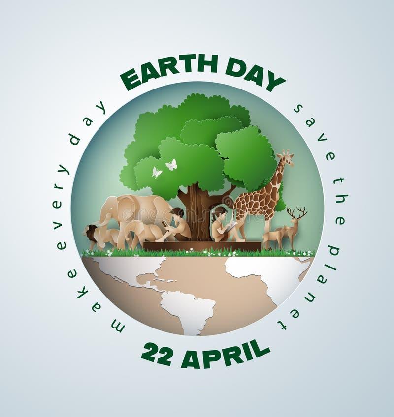 Tag der Erde-Konzept mit Baum, Tieren und Leuten stock abbildung