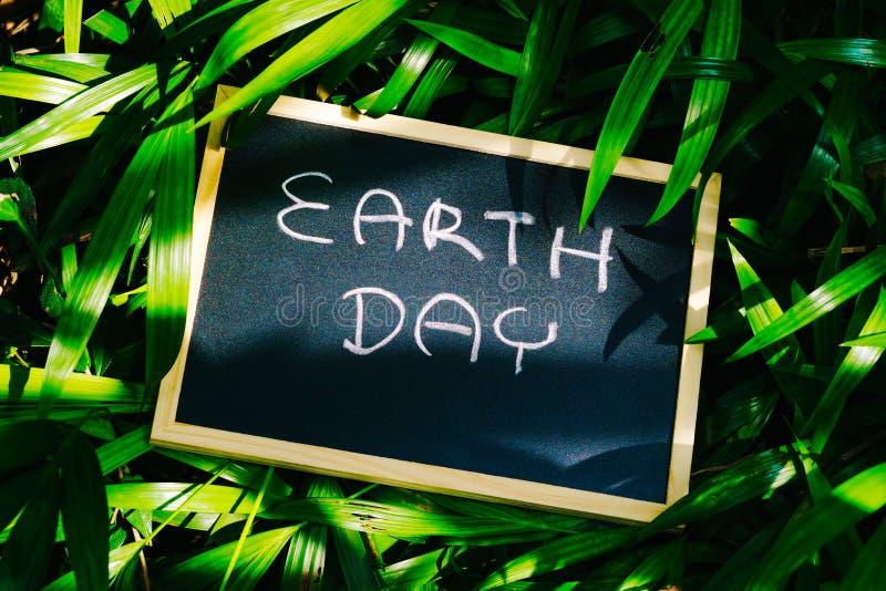 Tag der Erde-Konzept, Tag der Erde-Wortschreiben auf Tafel mit nationalem stockfotografie