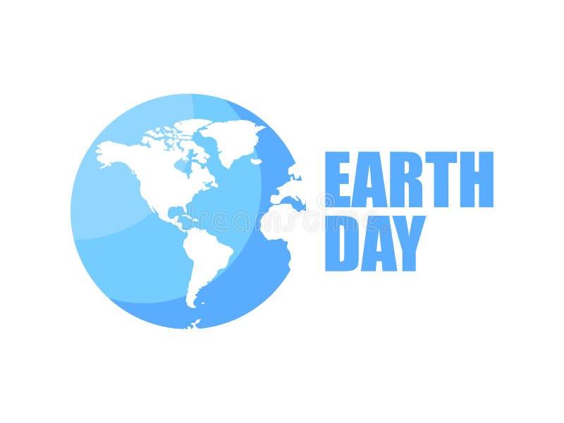 Tag der Erde-Logodesign 22. April Blaue und weiße Farbe Vektor vektor abbildung