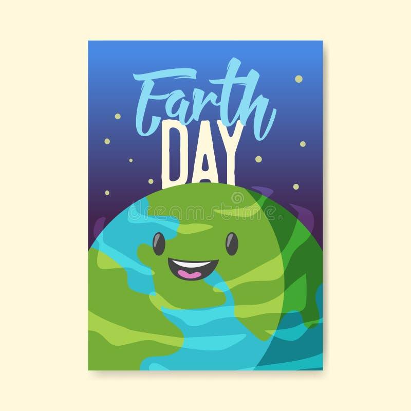 Tag der Erde-Plakat, Flieger, Broschüren-Schablone Glückliche grüne Planeten-Fahne Umwelt-Sicherheit, Ökologie-Konzept stock abbildung