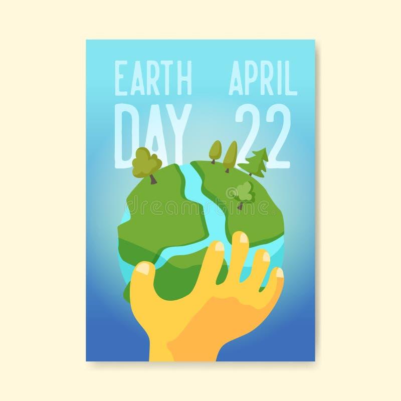 Tag der Erde-Plakat, Flieger, Broschüren-Schablone Grüne Planetenfahne Umwelt-Sicherheit, Ökologie-Konzept lizenzfreie abbildung