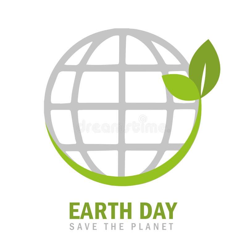 Tag der Erde-Umweltbewegungssymbol mit grünen Blättern stock abbildung