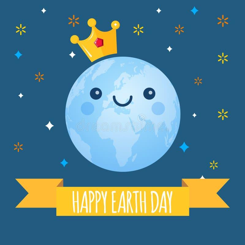 Tag der Erde-Vektorhintergrund Karikaturkugel mit goldener Krone und Sternen Netter netter lächelnder Planet Illustration für stock abbildung