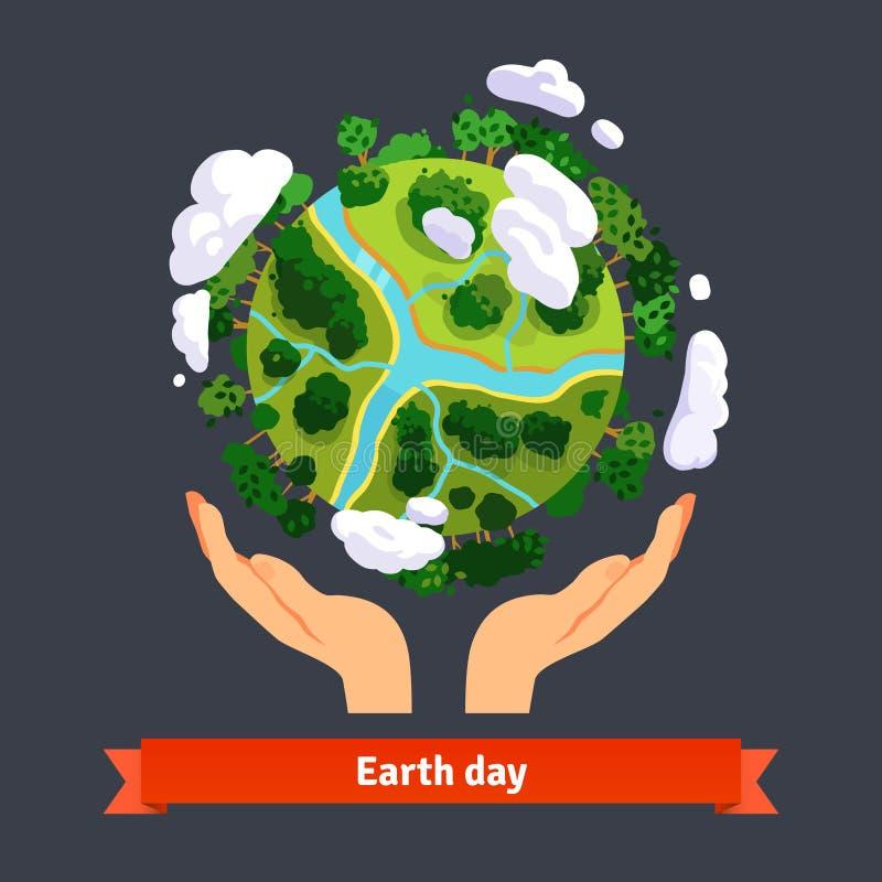 Tag der Erdekonzept Menschliche Hände, die Kugel halten stock abbildung