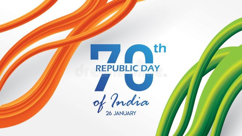 Tag der Republik der Indien-Hintergrundentwurfsfahne oder -plakats 26. Januar Vektorillustration stock abbildung