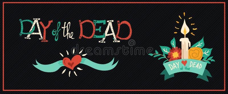 Tag der tote gezeichneten festlichen Fahne der Blume Hand stock abbildung