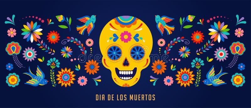 Tag der Toten, des Hintergrundes Durchmessers de Los Muertos, der Fahne und des Grußkartenkonzeptes mit dem Zuckerschädel
