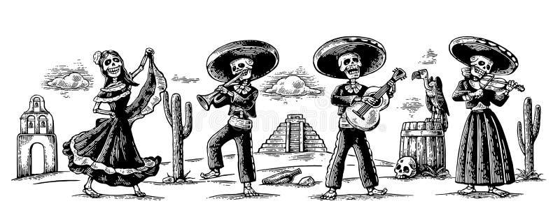 Tag der Toten, Dia de Los Muertos Das Skelett in den mexikanischen nationalen Kostümen tanzen, singen und spielen die Gitarre