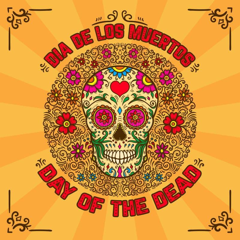 Tag der Toten Dia De Los Muertos Fahnenschablone mit dem mexikanischen Zuckerschädel auf Hintergrund mit Blumenmuster Gestaltungs vektor abbildung