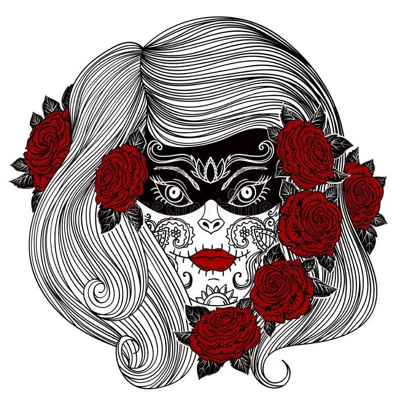 Tag der Toten Frau mit Sugar Skull- und Rosenblumen vektor abbildung