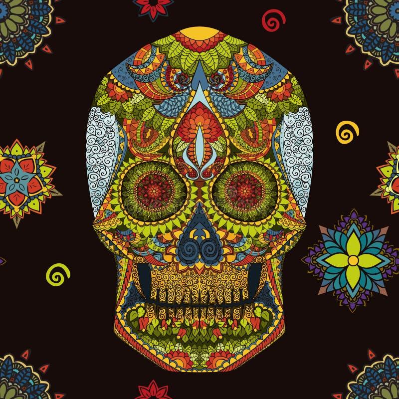 Tag der Toten Hand gezeichnete Schädel ornamentrd Vektorblumen stockbild