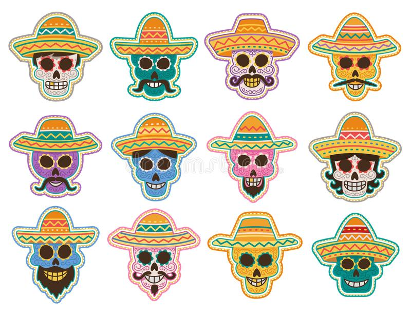 Tag der toten Schädelikone, mexikanisches Feiertagsdesign vektor abbildung