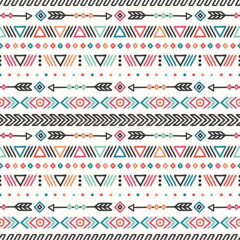 Tag der Toten Stammes- Hand gezeichnete Linie mexikanisches ethnisches nahtloses Muster Rand Thema der Getränke druck gekritzel t lizenzfreie abbildung