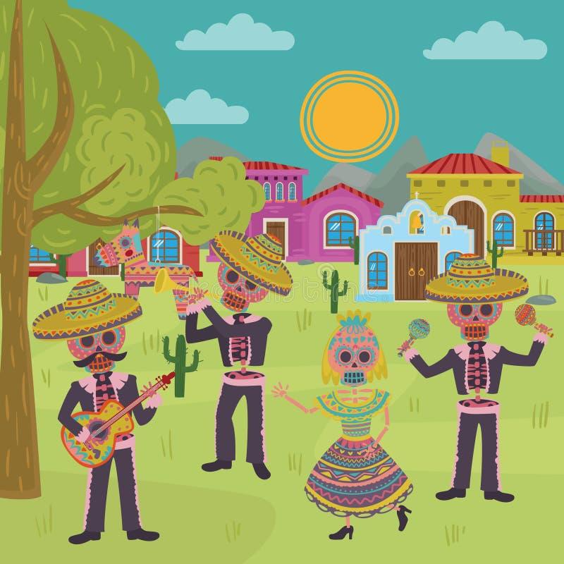 Tag der toten, traditionellen Urlaubsparty-Vektorillustration Mexikaner-Halloweens Dia De Muertos, Gestaltungselement für lizenzfreie abbildung