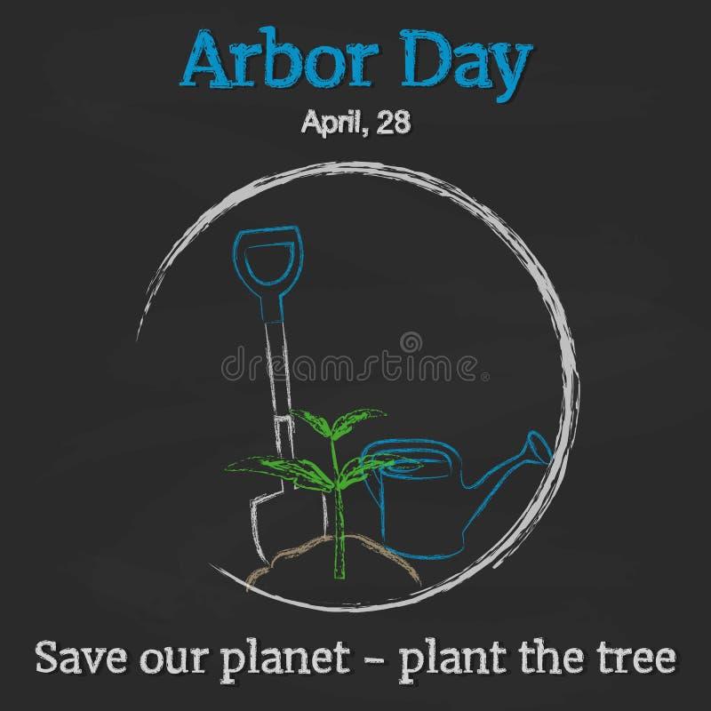 Tag des Baums-Hintergrund mit Schaufel, Gießkanne und Sprössling auf Tafel in der Karikaturart Vektorillustration für Sie stock abbildung