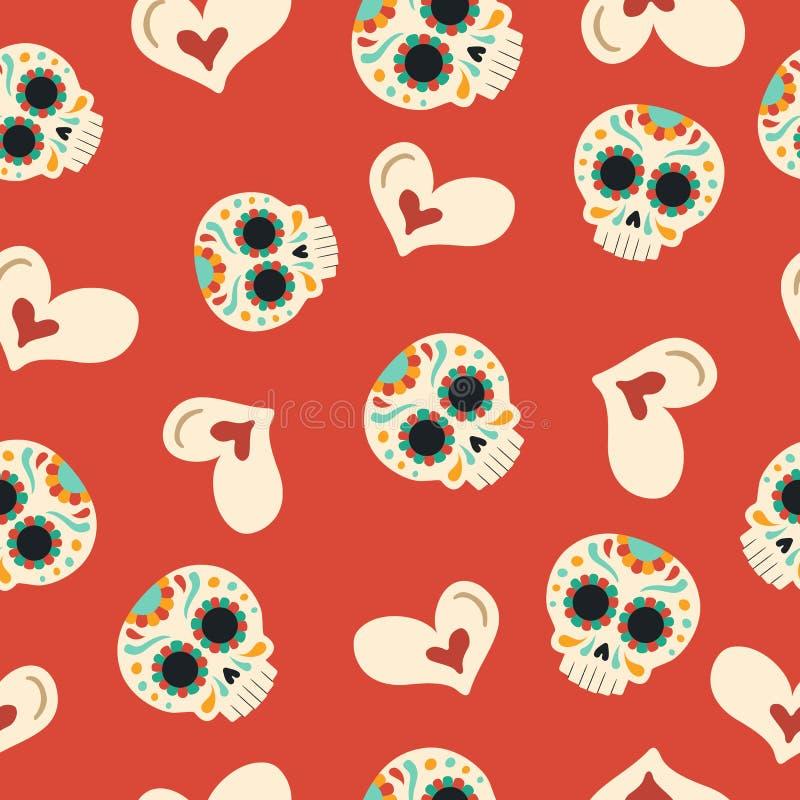 Tag des nahtlosen Musters der toten Zuckerschädel-Liebe vektor abbildung