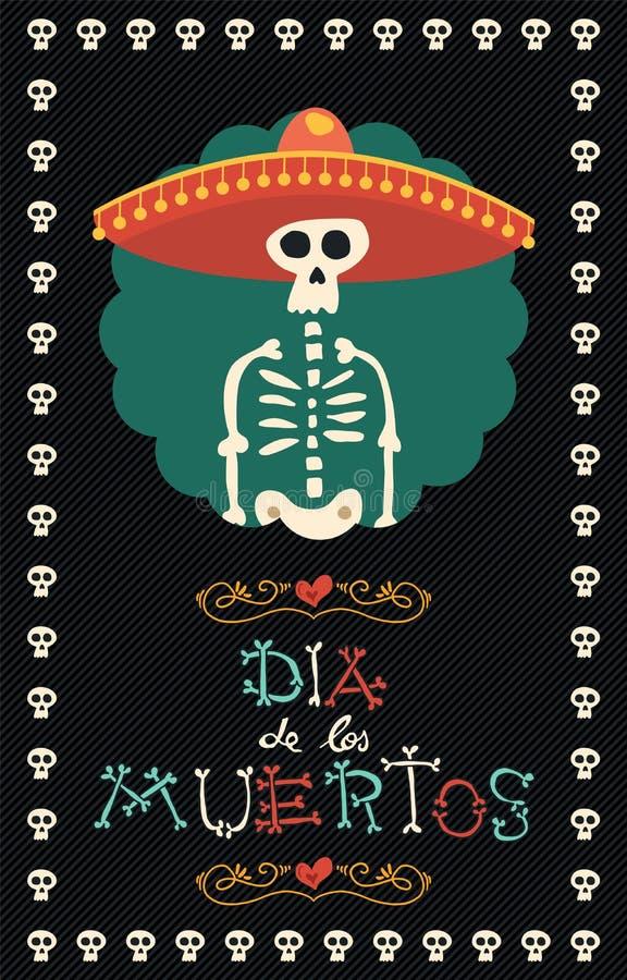Tag des toten mexikanischen Mariachihut-Zuckerschädels vektor abbildung