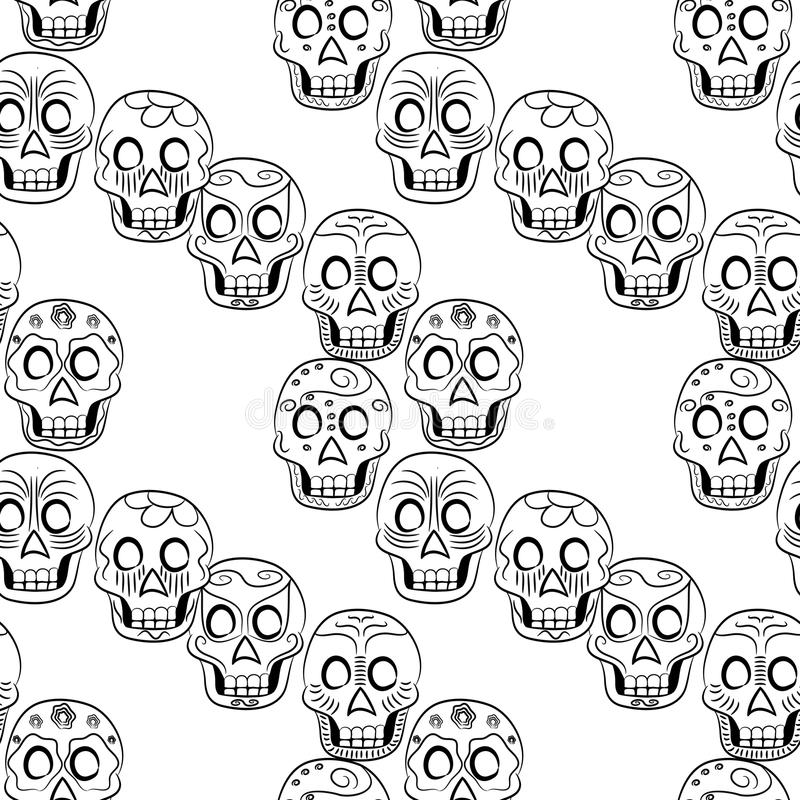 Tag des toten Sugar Skull Seamless-Musters vektor abbildung