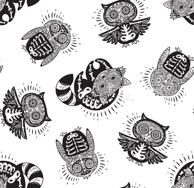 Tag des toten Tintenzuckertierschädels mit Verzierung stock abbildung
