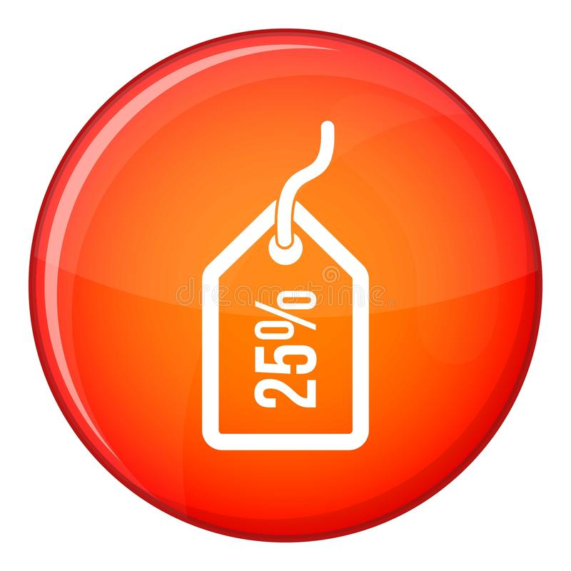 Tag with 25 discount icon, flat style stock illustration